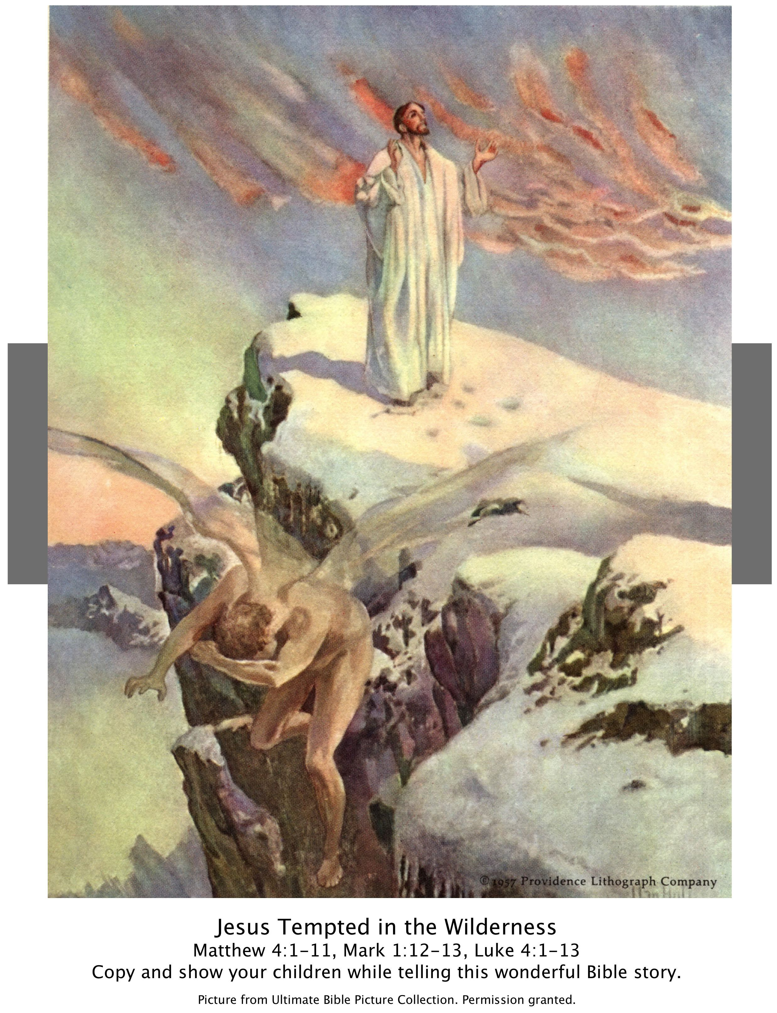 319255f0c9d6 Bible Story picture of the temptation of Jesus-Lk 4 1-13. Show your  children while telling this wonderful Bible Story.