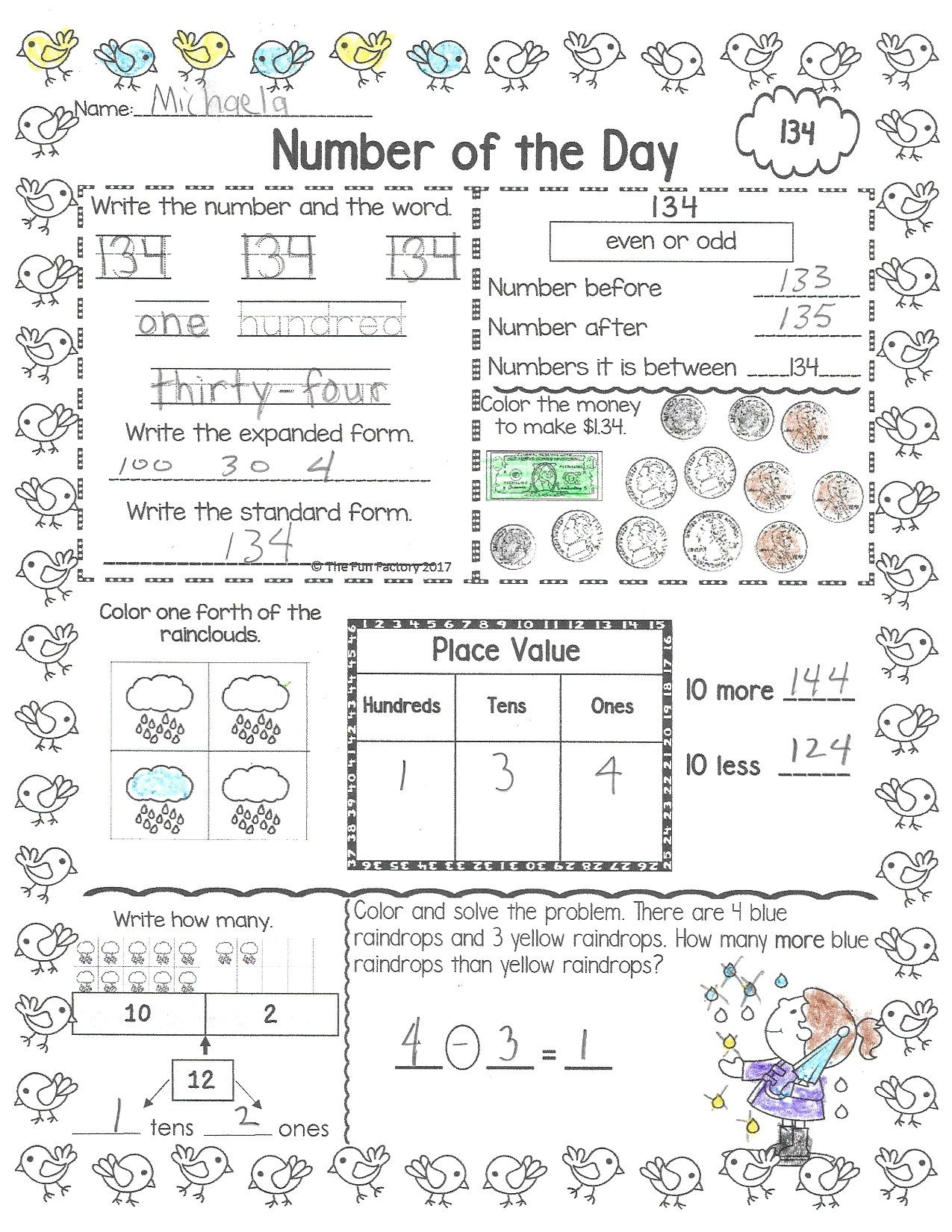 Number of the Day 1st Grade April   Math worksheets [ 1650 x 1275 Pixel ]