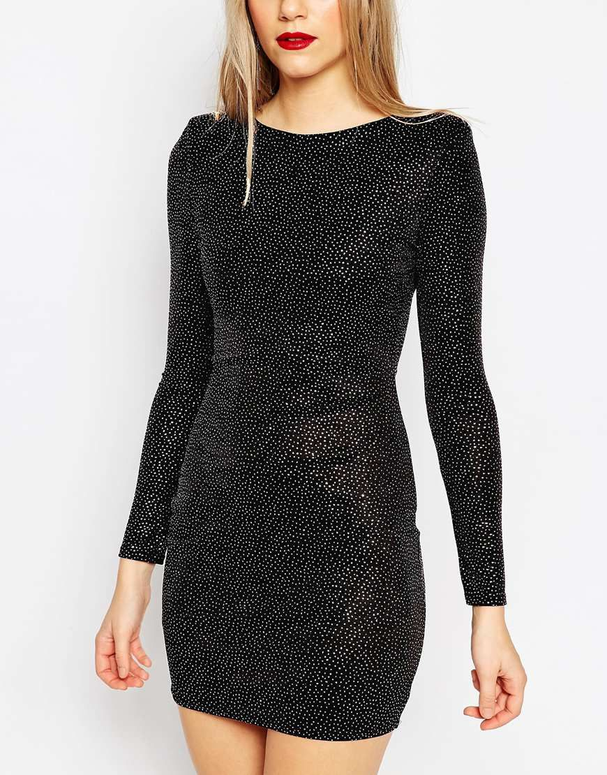 06e87aeb Image 2 of ASOS Shoulder Pad Deep Plunge Glitter Mini Body-Conscious Dress