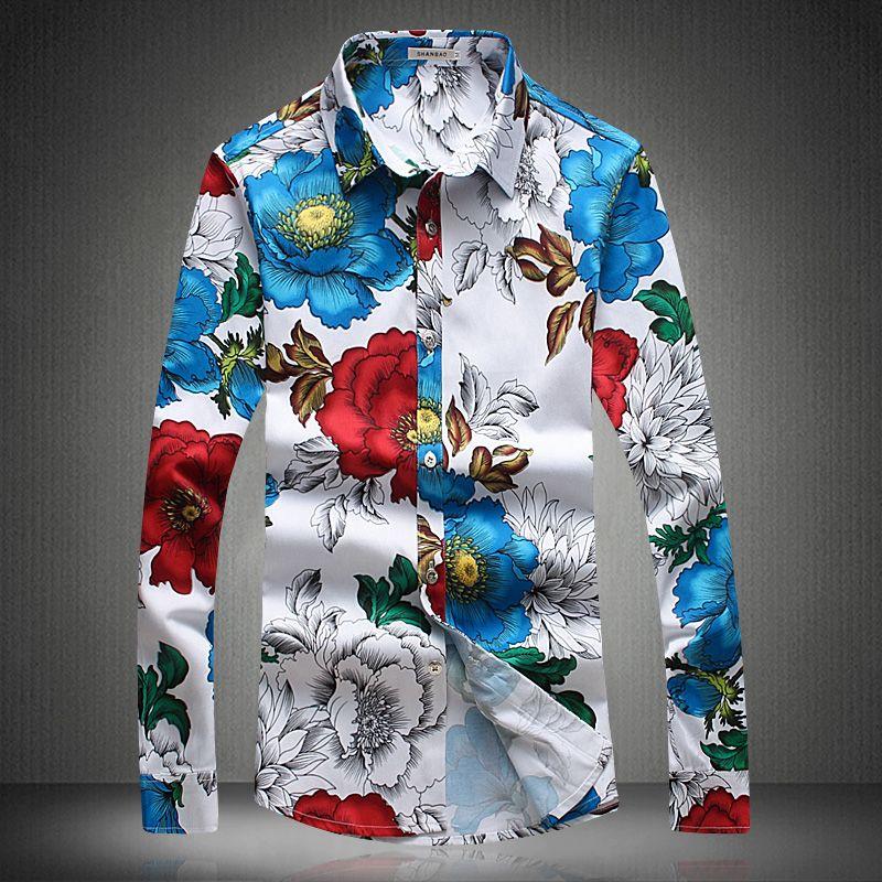 e7d8f3744 Cheap Nuevo 2017 Flores Diseñador de Camisetas Para Hombre de Lujo Camisas  Camisa de Moda Slim