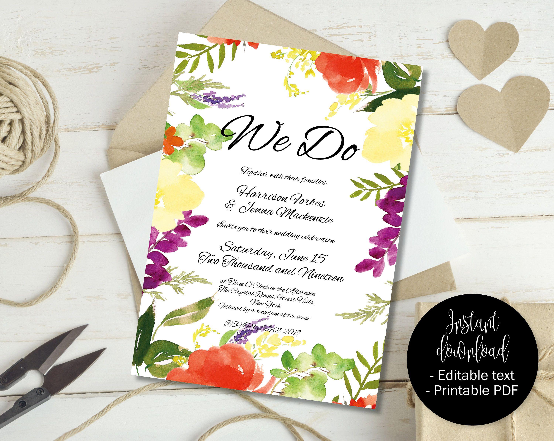 Printable DIY Wedding Invite, Wedding Invitation Template, Wedding ...