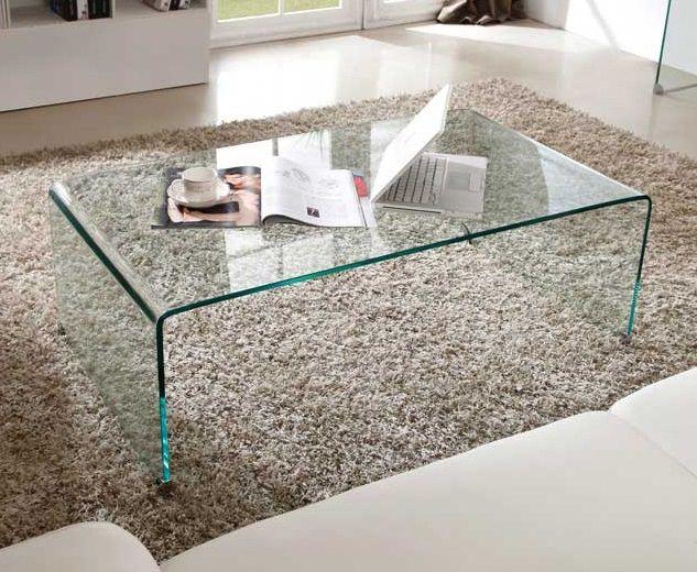 table basse bridge en verre courbe