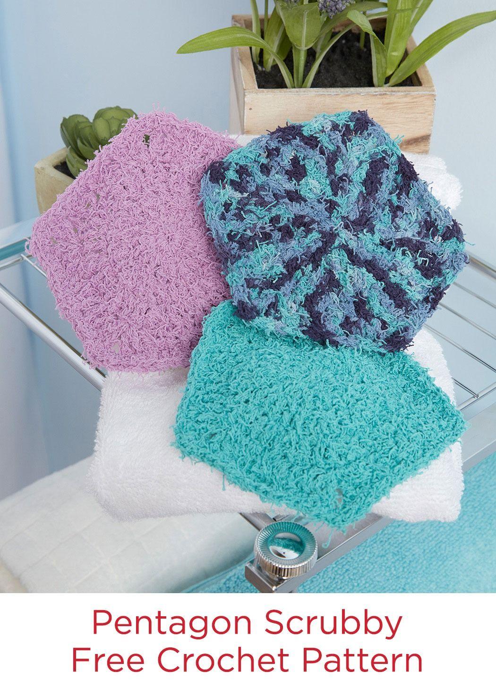 Pentagon Scrubby Free Crochet Pattern in Red Heart Scrubby Cotton ...