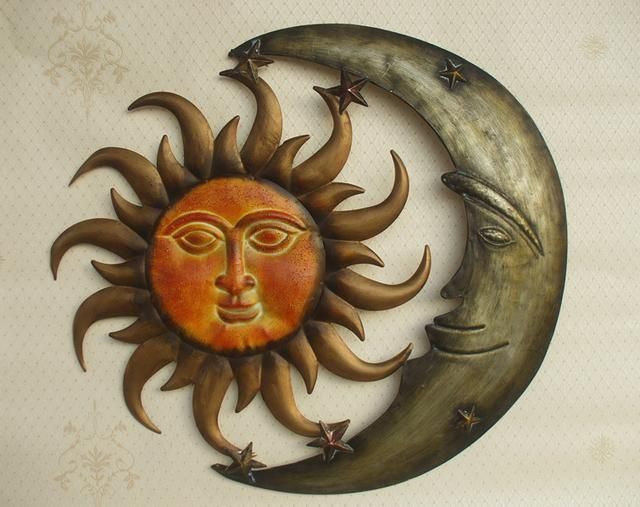 Metal Wall Art Iron Sculpture Sun And Moon Indoor Decor Artwork