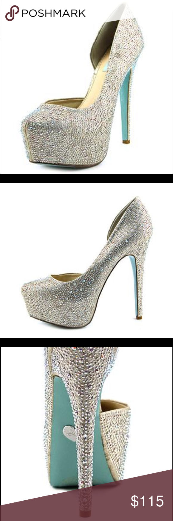 Betsey Johnson Blue Heels- Star 5 (crystal) Betsey Johnson Blue Heels- Crystal. Worn once for 5 minutes so they're new! Comes with replacement crystals as well. Great for prom, weddings, parties, etc! Champagne base with individual crystals- works with silver or gold! Get the look of Strass Daffodil Louboutins for a percentage of the cost... Betsey Johnson Shoes Heels