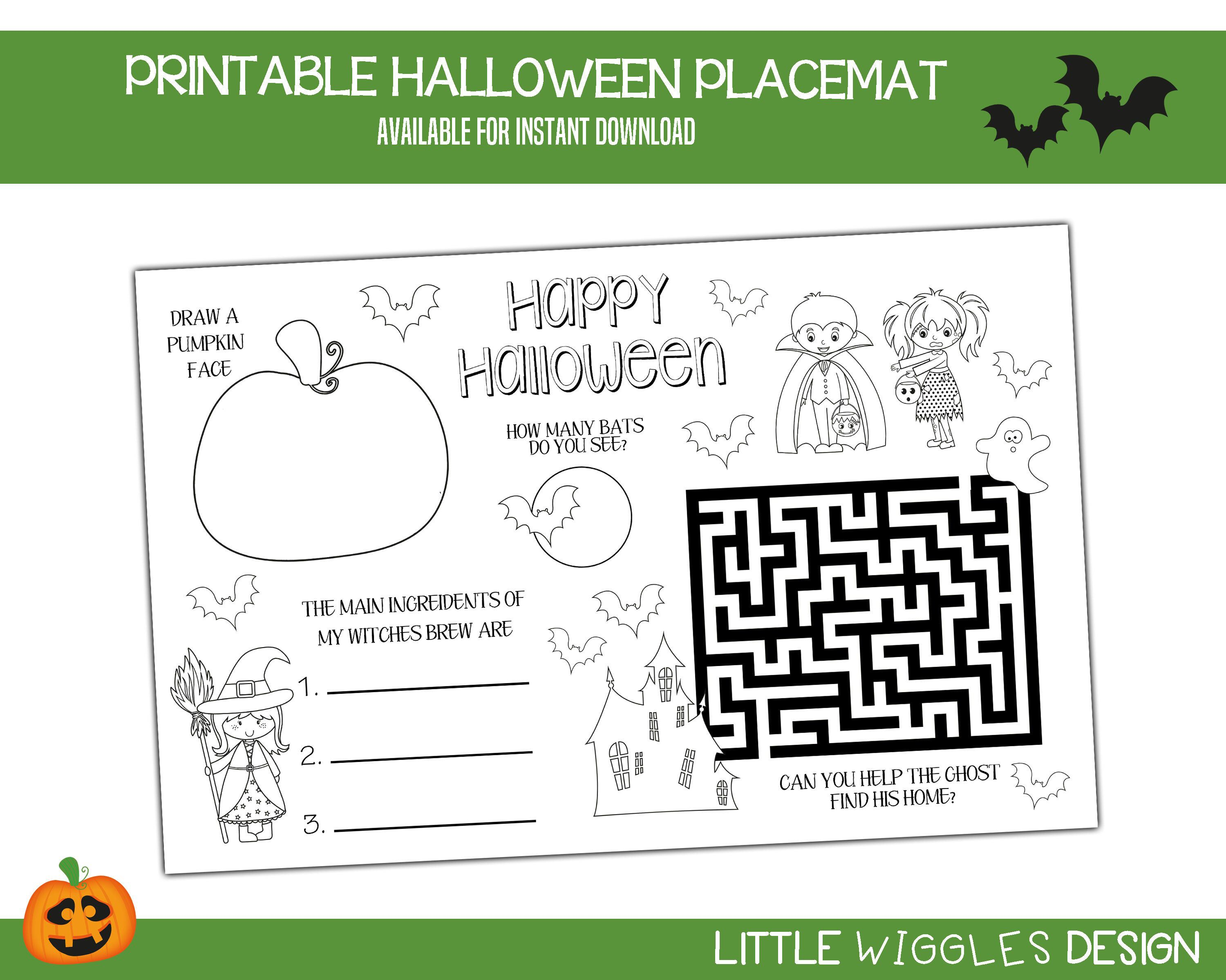 Printable Halloween Activity Halloween Placemat Large Halloween Coloring Page Https Halloween Activities For Kids Fun Halloween Activity Halloween Placemats