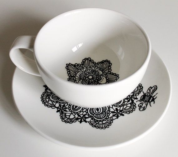 queen bee cup and saucer by Yvonne Ellen on Folksy