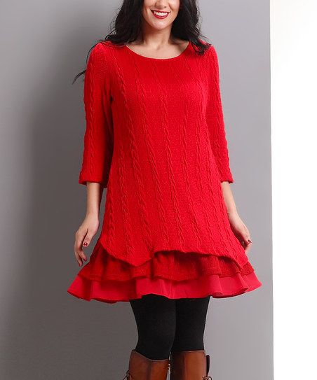 Reborn Collection Red Cable-Knit Lace-Trim Tunic - Plus | zulily
