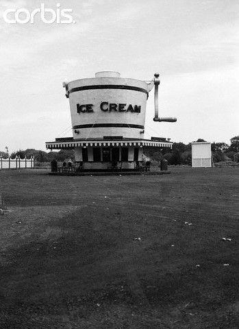 1930s Roadside Refreshment Stand Shaped Like Ice Cream Maker
