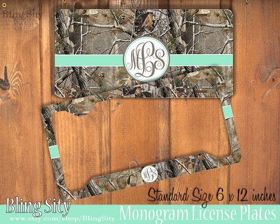 Mint camo Monogram License Plate Frame Holder Metal by BlingSity ...