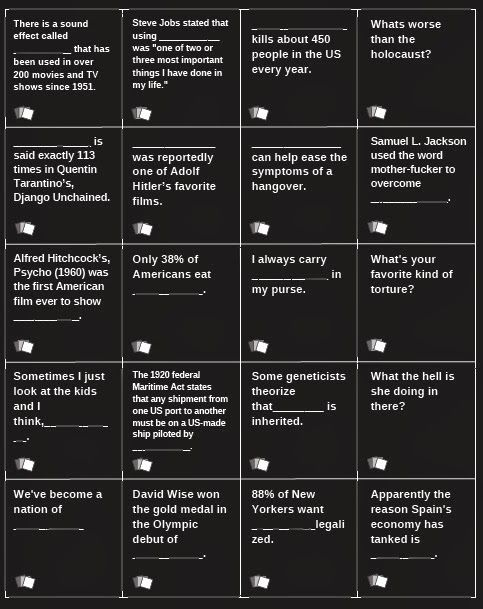 This is a photo of Adaptable Cards Against Humanity Print Outs
