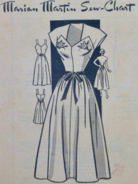 3260d867095 Vintage 40s Marian Martin Pattern 9051 by VintageNeedleFinds