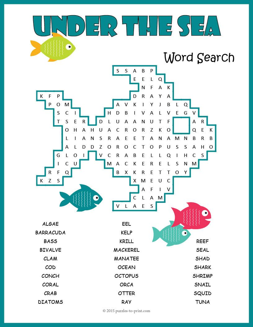 A Word Search Puzzle Featuring Ocean Vocabulary Words Including The Names Of Creatures That Live In The Ocean Animals Ocean Animals For Kids Animal Activities