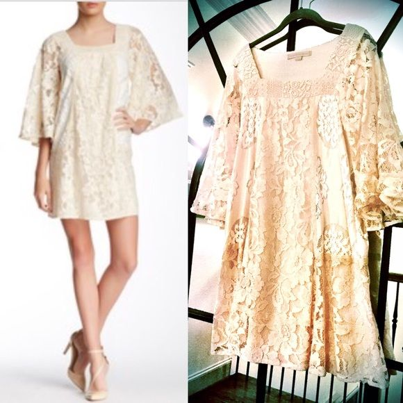 """Champagne & Strawberry Lace Bell Sleeve Minidress Not """"officially"""" maternity but I wore this to a baby shower when 6 months pregnant. Great for spring! Dresses Mini"""