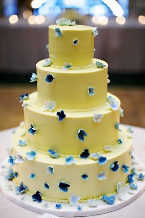 blue and yellow wedding cake...maybe a little simpler with only 2 ...