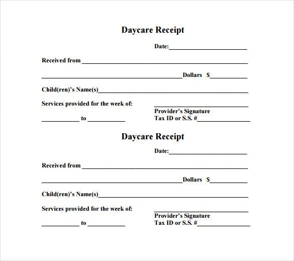 Daycare Receipt Template u2013 12+ Free Word, Excel, PDF Format - payment slip format free download