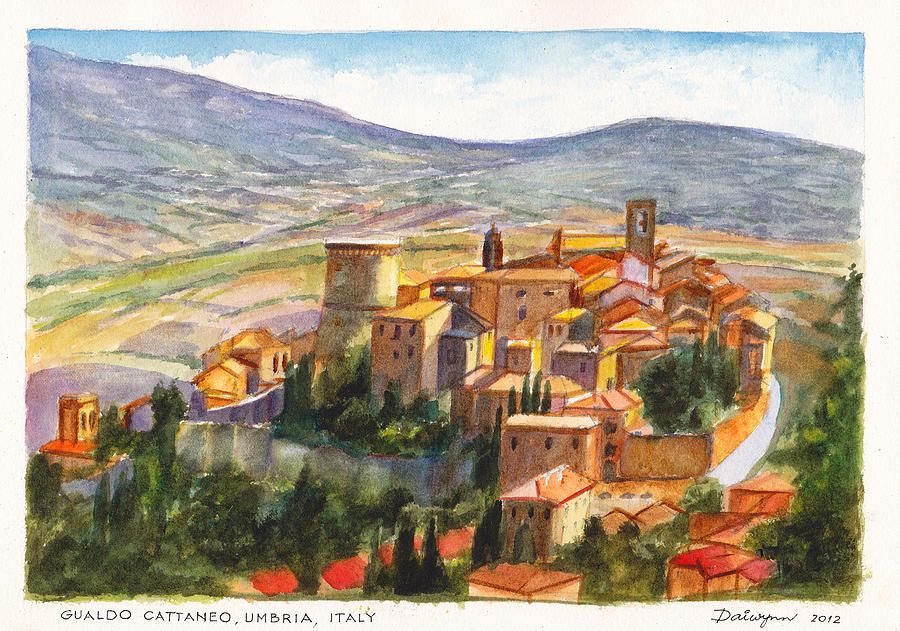 Watercolor  - The Fortified Walled Village Of Gualdo Cattaneo Umbria Italy / Painting by Dai Wynn