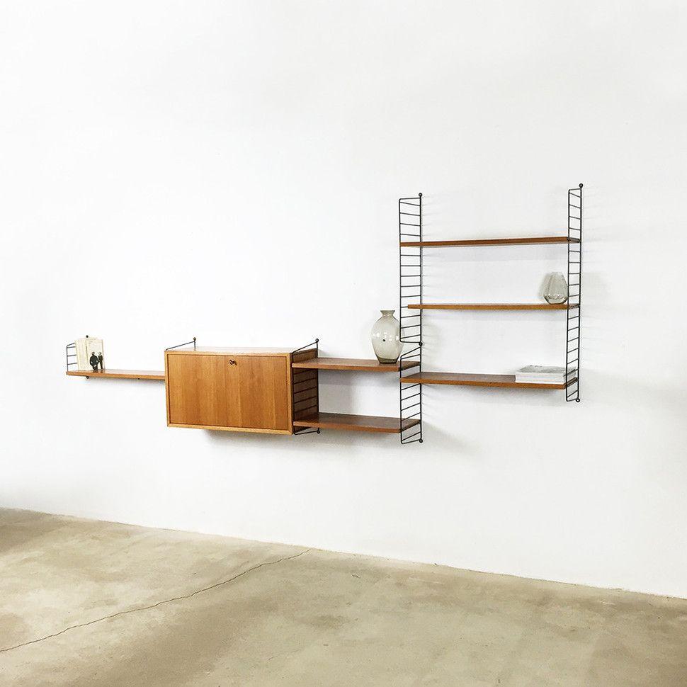 bokhyllan the ladders shelf string regal light teak. Black Bedroom Furniture Sets. Home Design Ideas