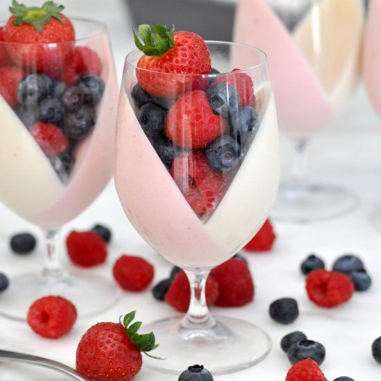 Let's give a new shape to this classic Italian dessert with beautiful and fun, pink and white, panna cotta cups filled with lots of fruit.