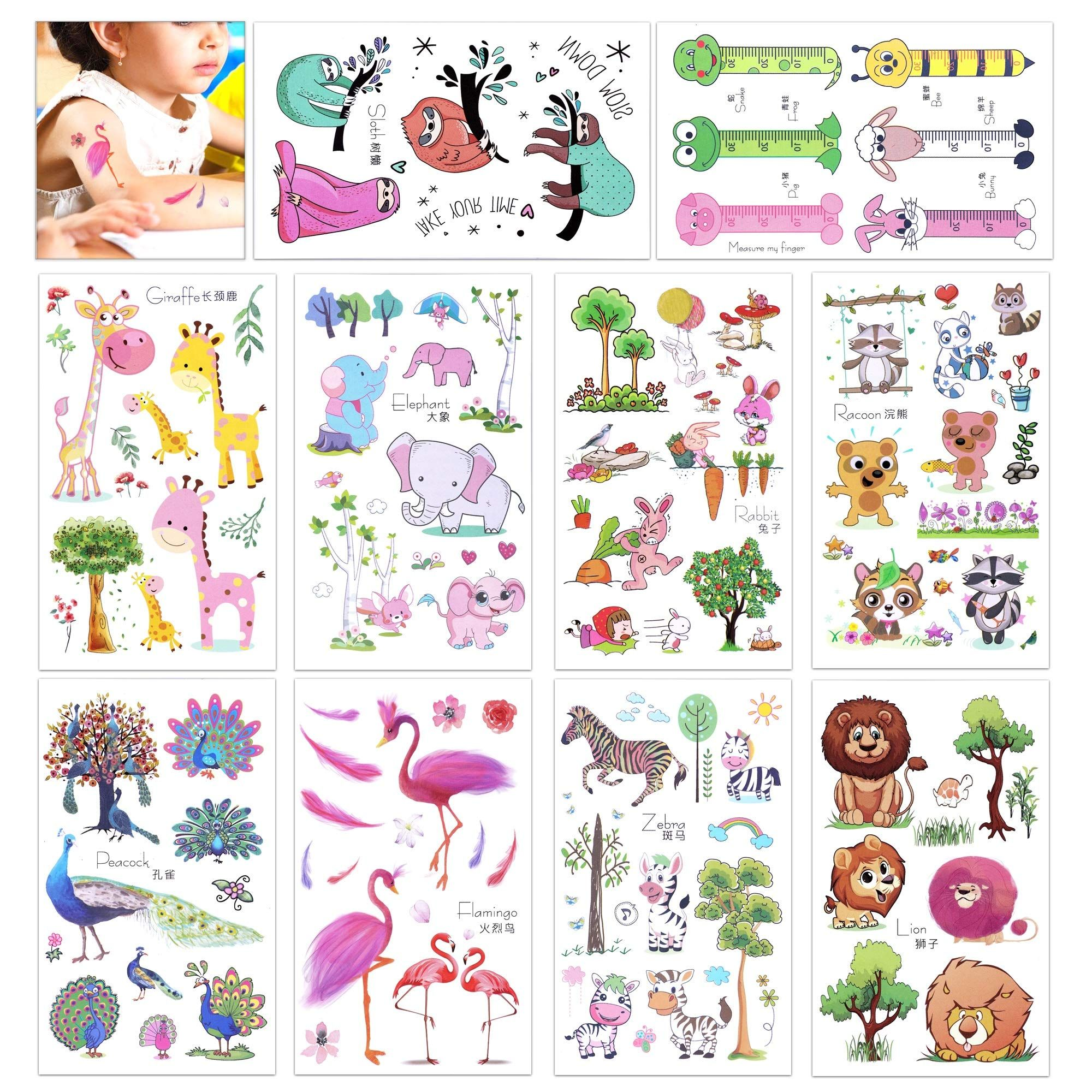 Konsait 150 assorted zoo animal temporary tattoos for