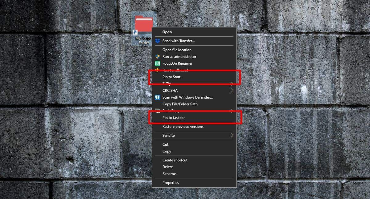 How to pin a folder to the taskbar or Start Menu on