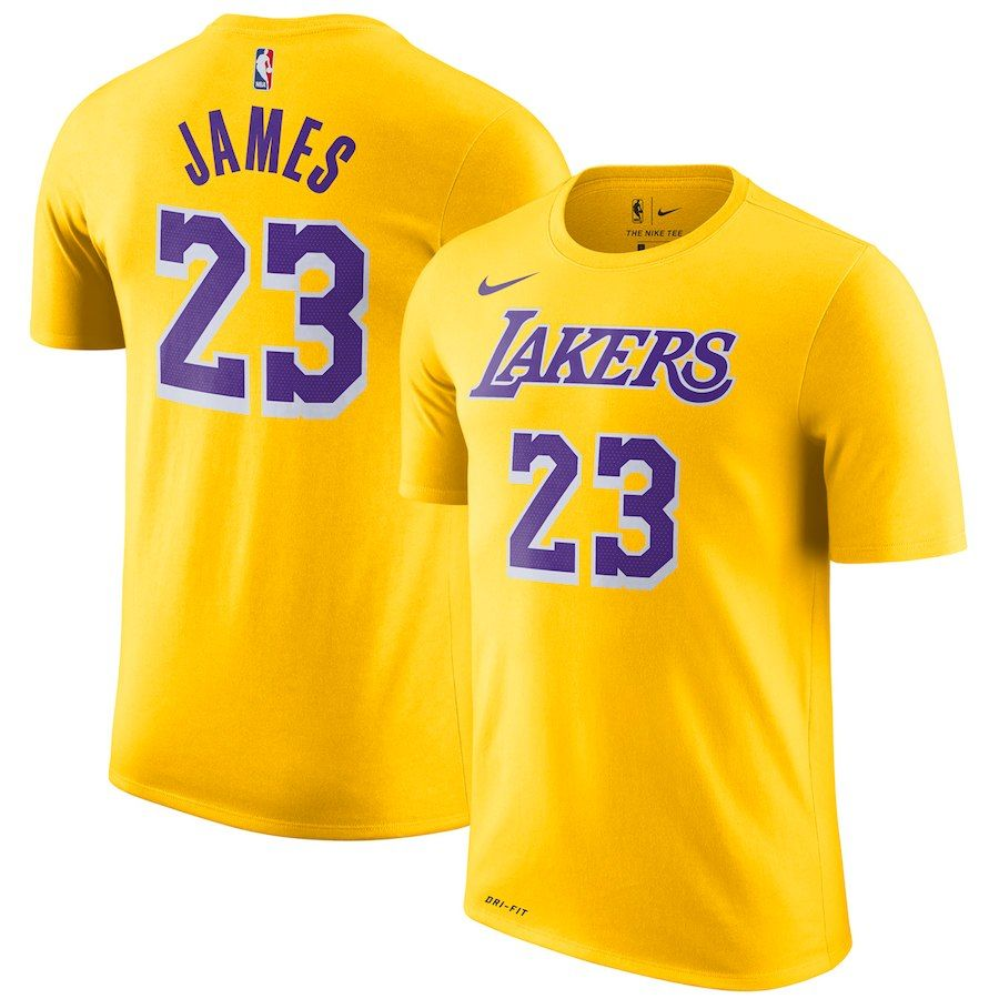 Men S Los Angeles Lakers Lebron James Nike Gold Icon Edition 2018 19 Name Number Performance T Shirt Los Angeles Lakers Lebron James Nba Shirts