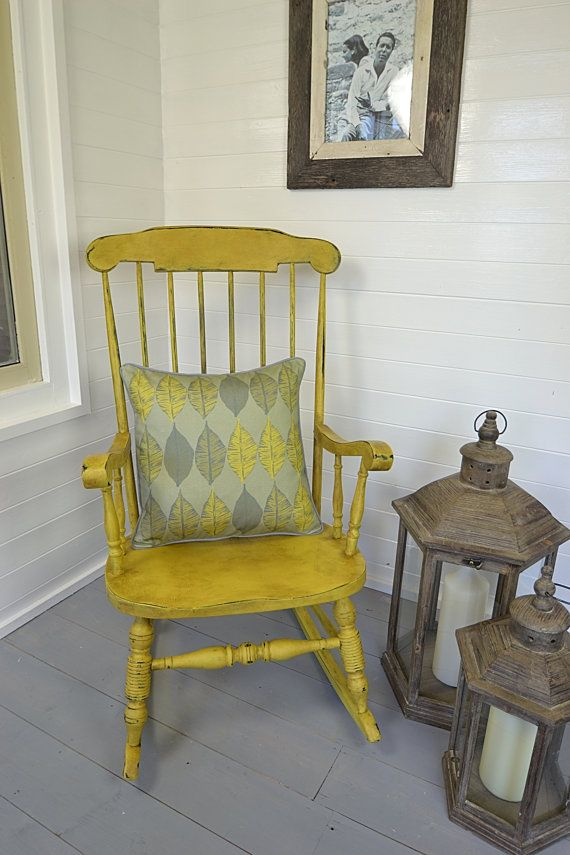Shabby Chic Aged Yellow Rocking Chair FREE by TheTreasureTroveUK, £165.00