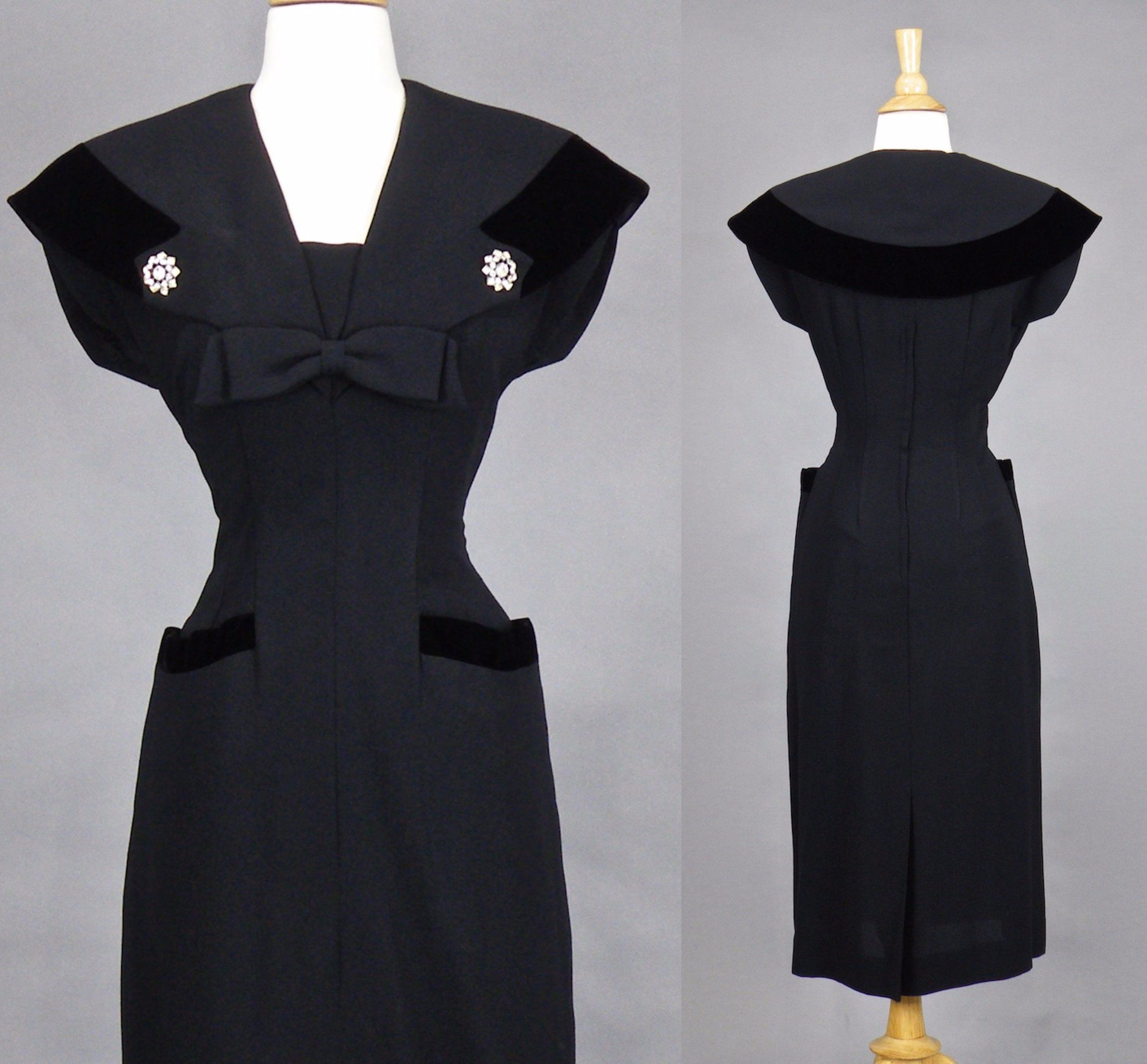 Hold 1940s 50s Black Rayon Crepe Fitted Sheath Dress 40s Etsy Fitted Sheath Dress Black Pencil Dress Sheath Dress [ 2785 x 3000 Pixel ]