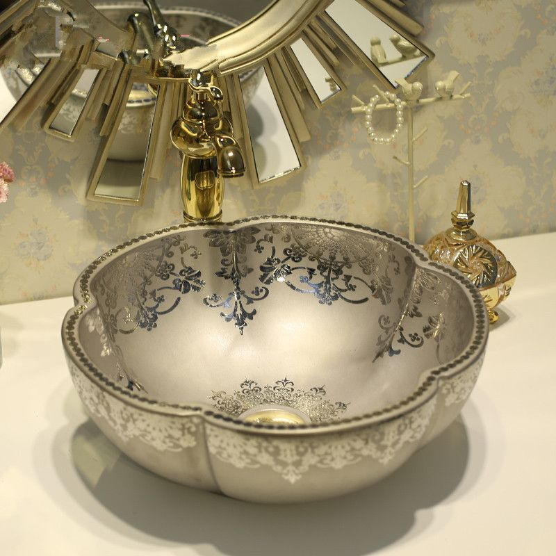 Silver Flower Shape Art Wash Basin Ceramic Counter Top Bathroom Sinks Kohler Sink