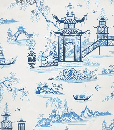 porcelain blue & white chinoiserie fabric by Waverly