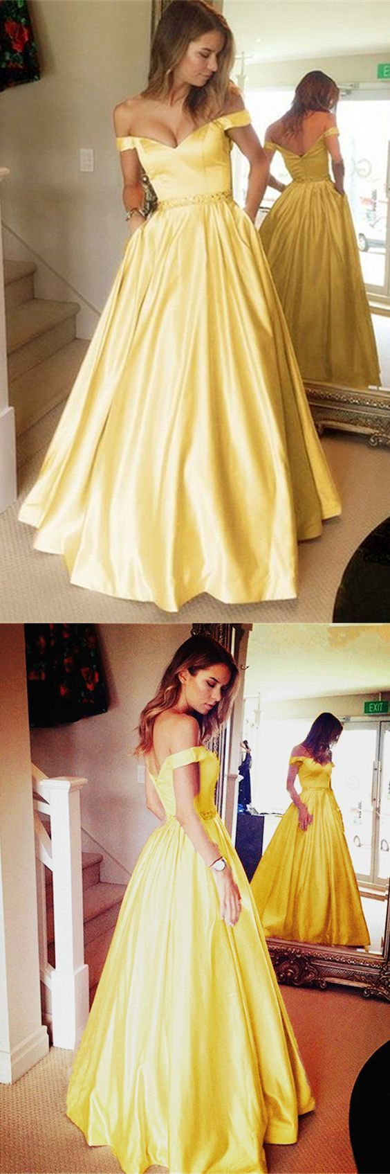 Gold satin v neck long prom dresses ball gowns off the shoulder prom
