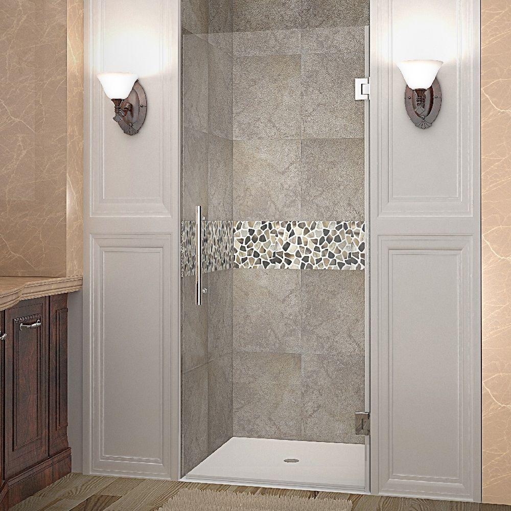 Aston Cascadia 36 In X 72 In Completely Frameless Hinged Shower Door In Chrome With Clear Gl Frameless Hinged Shower Door Shower Doors Frameless Shower Doors