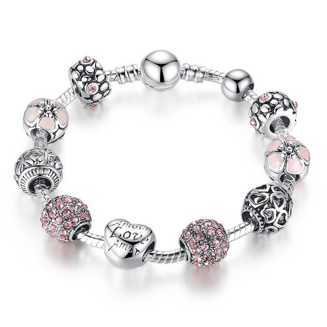 silver charm bracelet with love and flower crystals jewellery