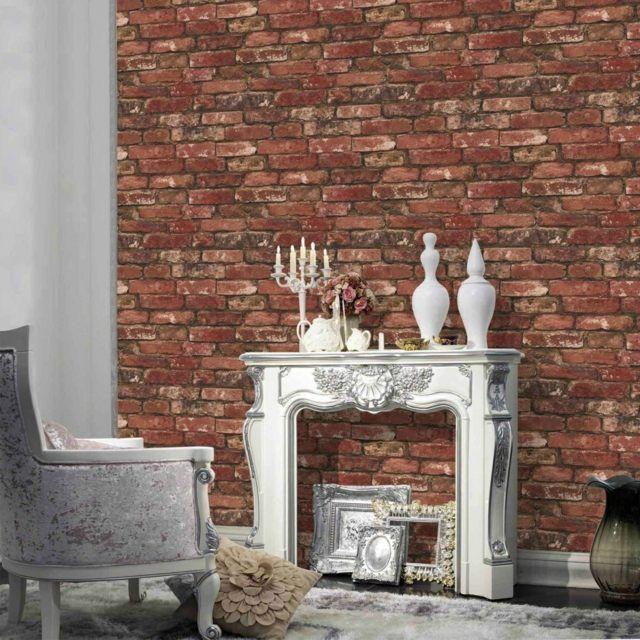 papier peint brique pour un salon de style industriel pat charles style. Black Bedroom Furniture Sets. Home Design Ideas