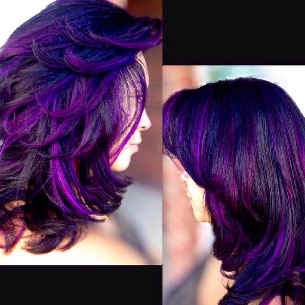 Purple Highlights Over Brunette Purple Hair Perfect Hair Color