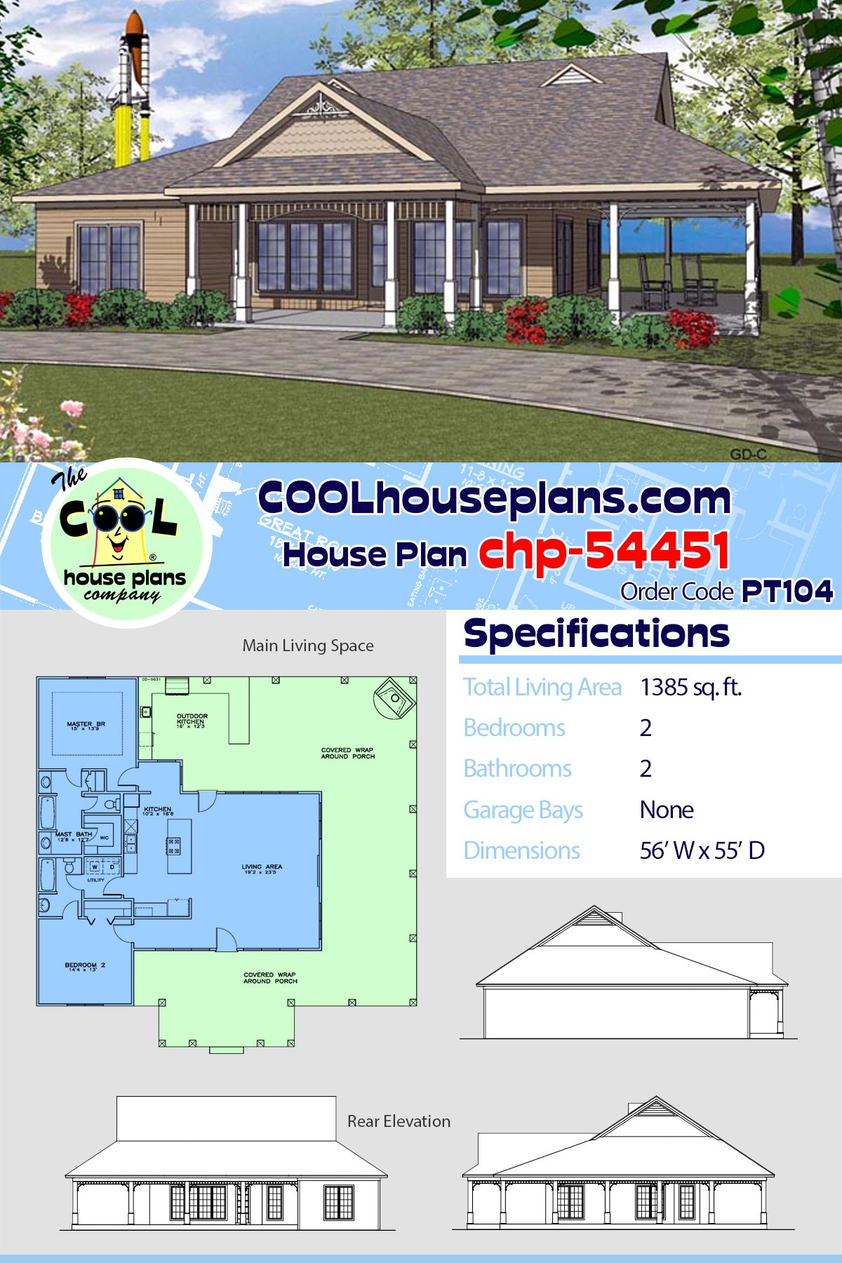 Southern Style House Plan 72307 With 2 Bed 2 Bath House Plans Vacation House Plans Country House Plans
