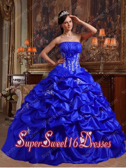 ad2284aada2 Royal Blue Taffeta Strapless Appliques and Pick Ups Perfect Sweet 16 Dress  with Ruching