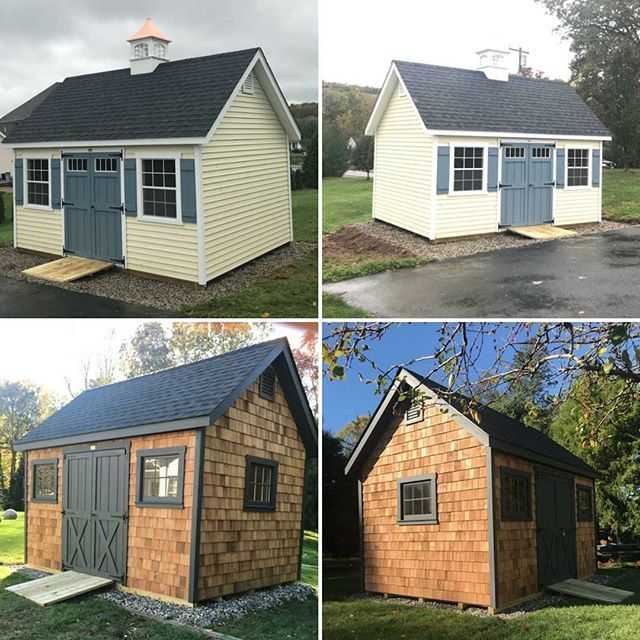 It S Just Another Manor Monday A 12x16 With Cream Vinyl Siding Delivered To Berlin Ct And A 10x14 With Cedar Shakes De Vinyl Siding Shed Outdoor Structures