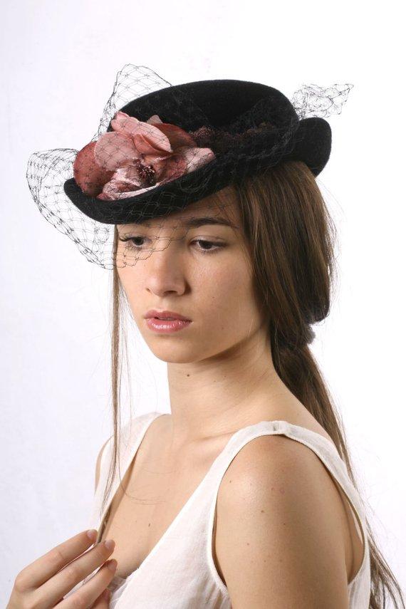 50e21123867 Black veiled bowler hat