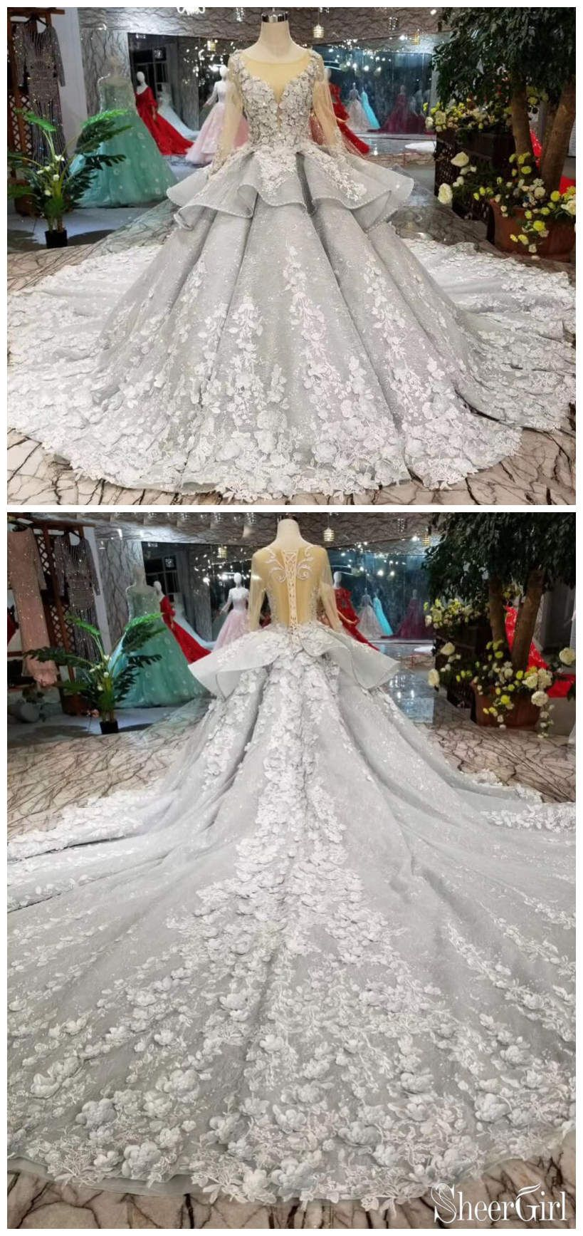 See through bodice wedding dresses long sleeve quinceanera dress