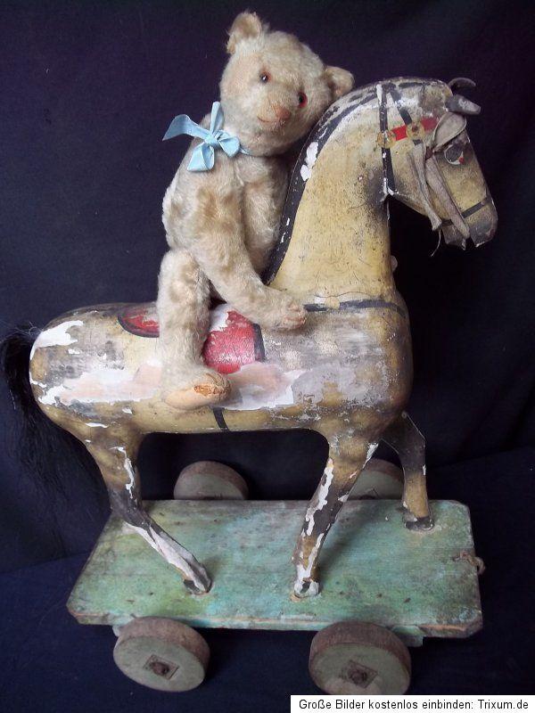 ANTIQUE STEIFF TEDDY BEAR 1918 HARD STUFFED MOHAIR w. ANTIQUE ROCKING HORSE | eBay