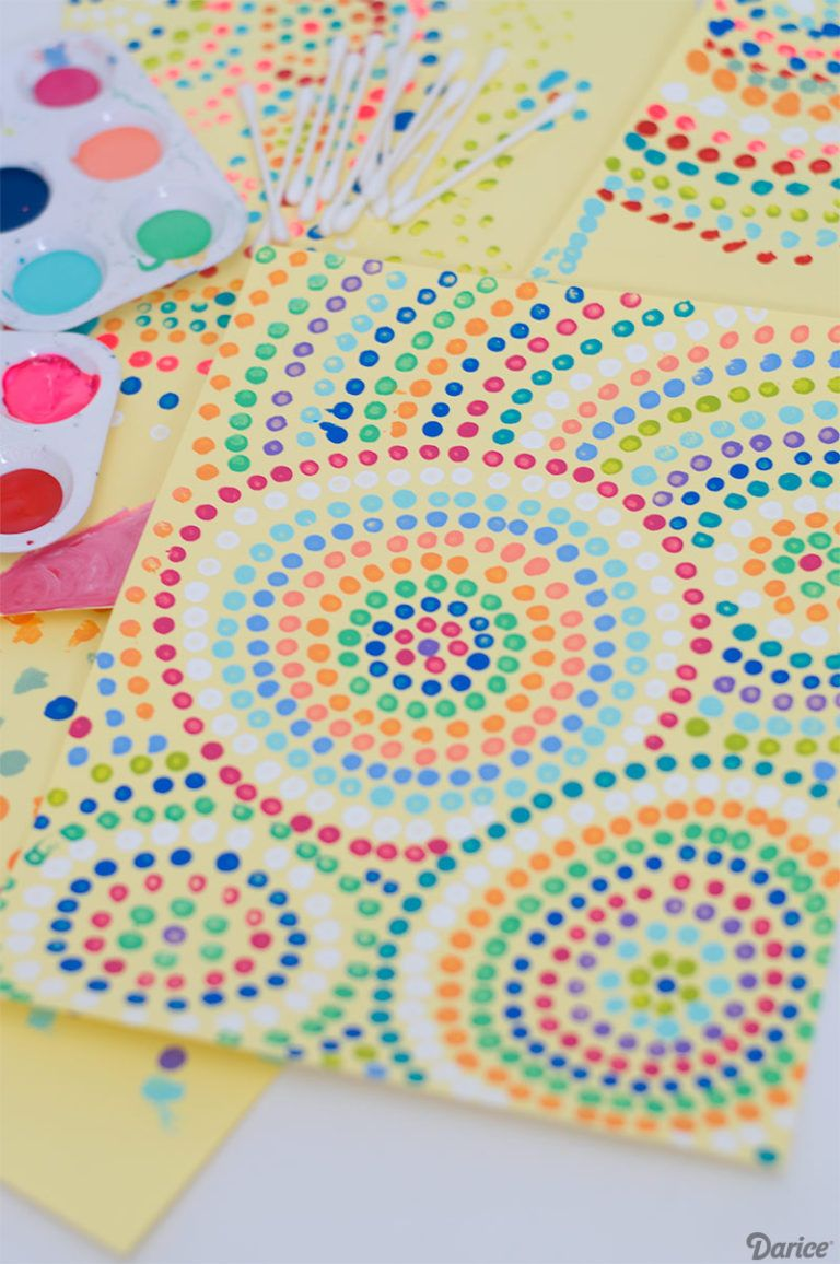 Dot Art Painting with Q-tips: Art Project for Kids - Darice #dotdayartprojects