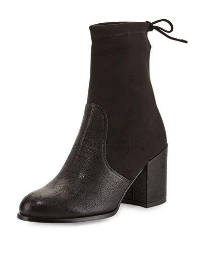 STUART WEITZMAN Shorty Suede/Leather Chunky-Heel Bootie, Black. #stuartweitzman #shoes #boots