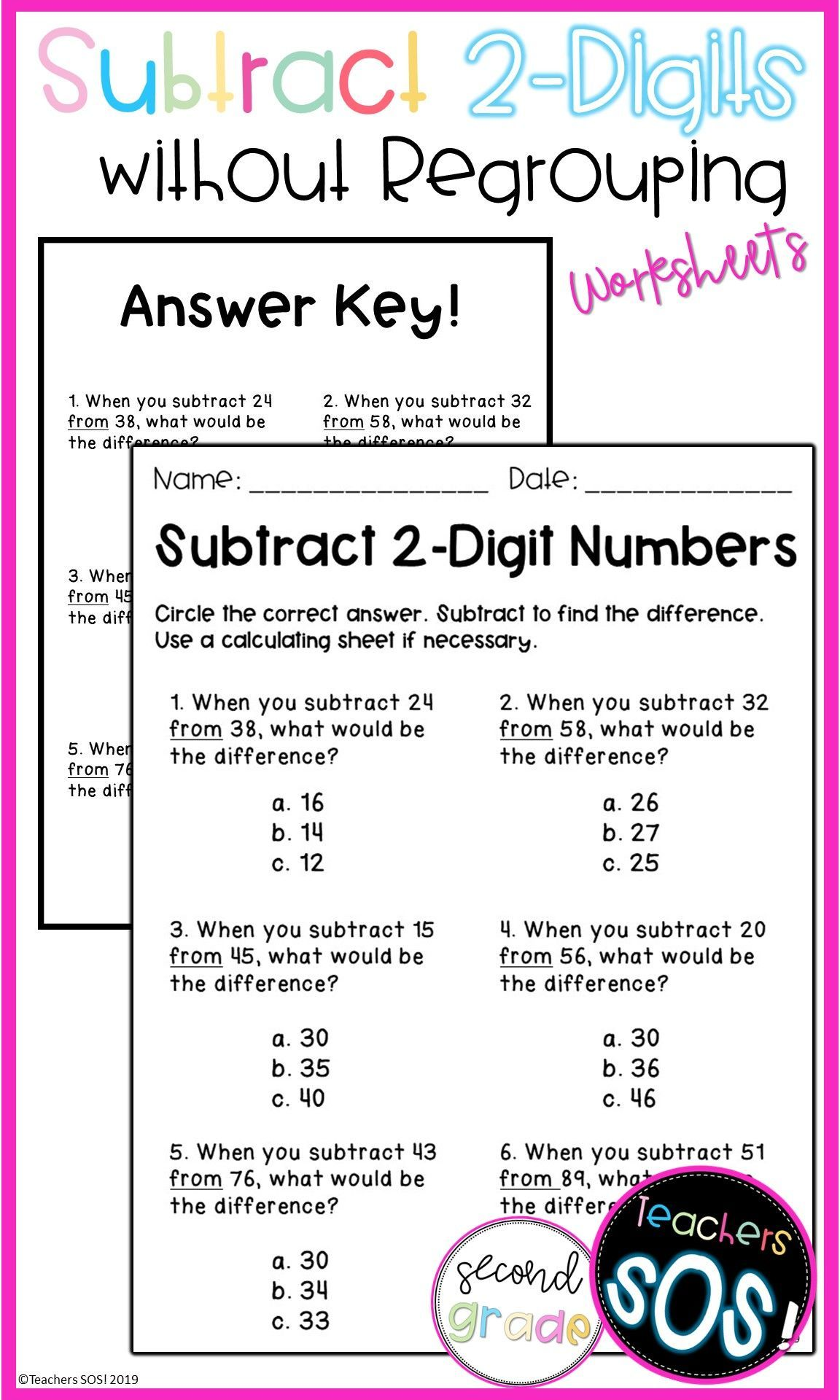 Subtract 2 Digit Numbers Without Regrouping Worksheet