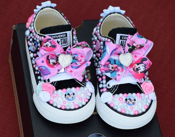 28273c363d97 Minnie Mouse Bling Sneakers With Bows - Pearl Baby Girl Shoes - Size 4 Shoe  - Bling Baby Shoes - Chuck Taylor Toddler Converse