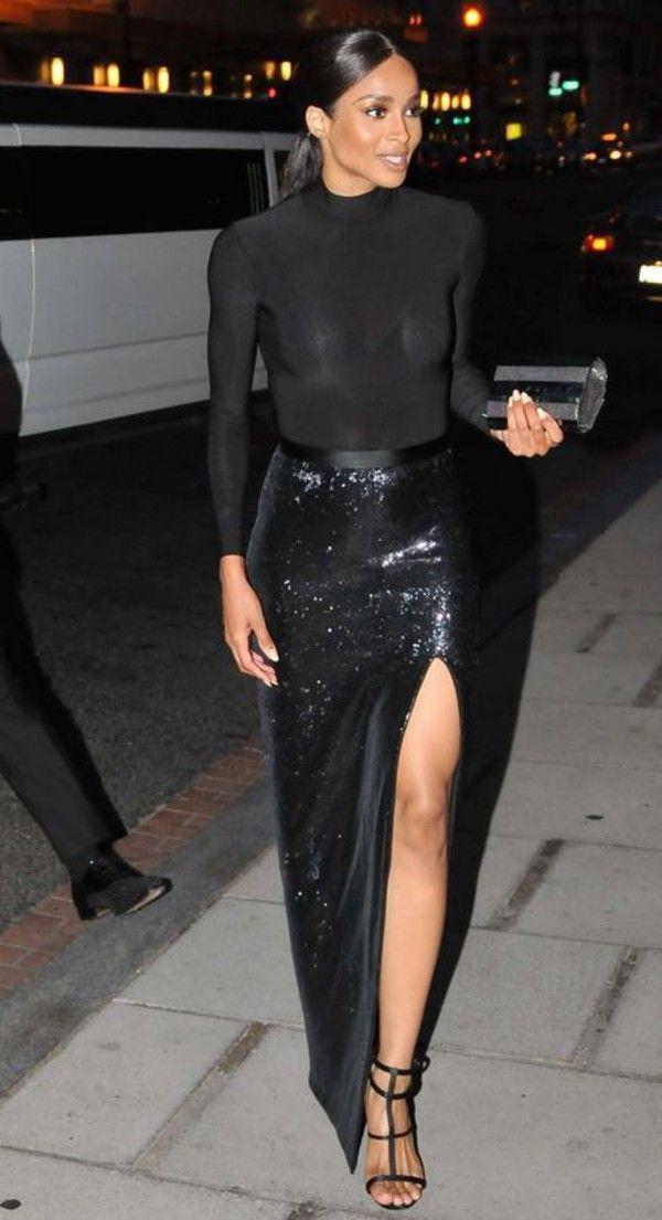 973c282a3e skirt gown slit top maxi skirt slit skirt all black everything ciara  sandals sequins slit maxi skirt