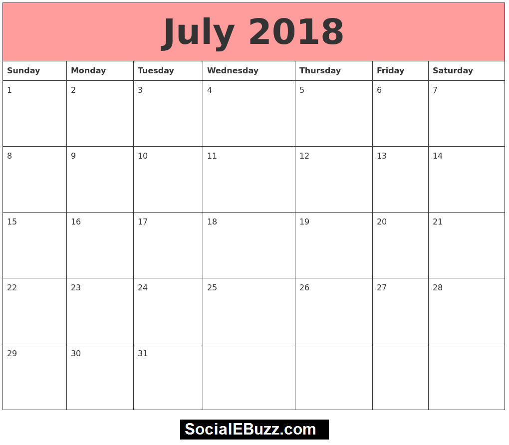 July  Calendar Printable Template July Calendar  July