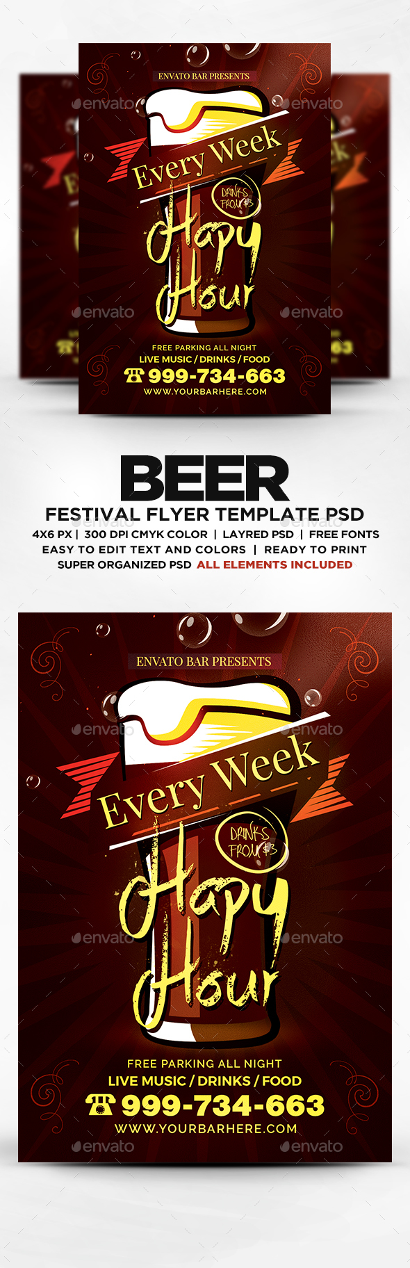 Happy Hour Flyer Template Psd Heartpulsar
