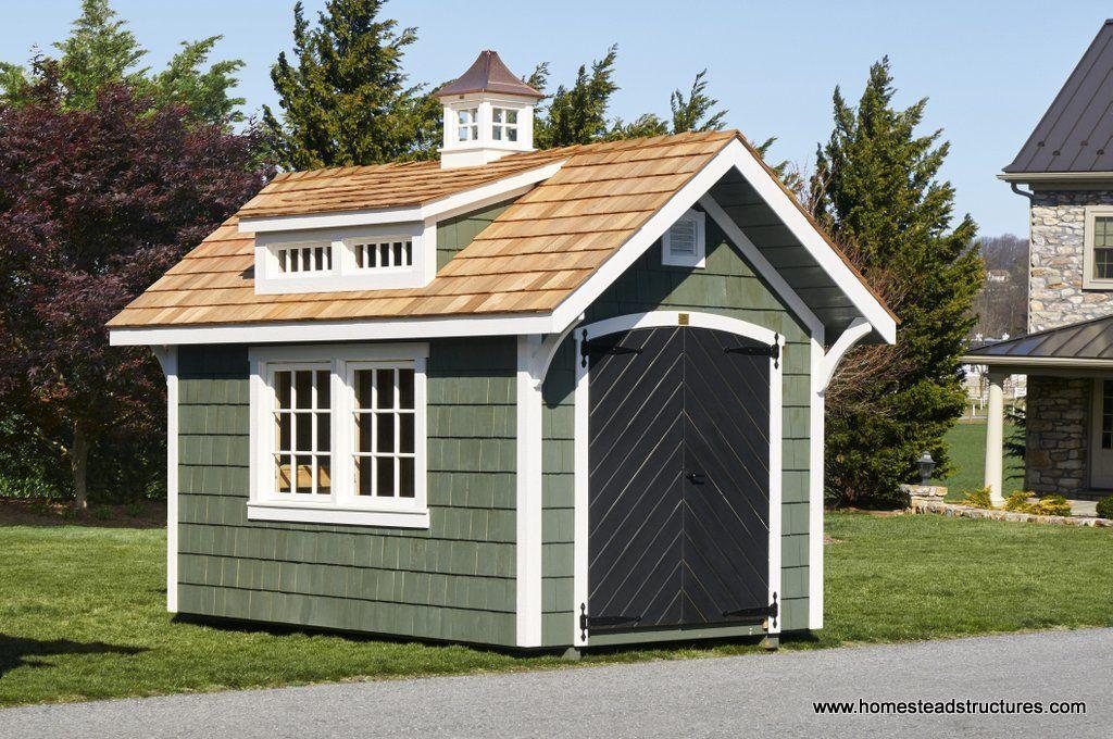 8x12 Premier Garden Shed With Dormer And Cupola Cedar Shake Siding Backyard Buildings Shed Garden Shed