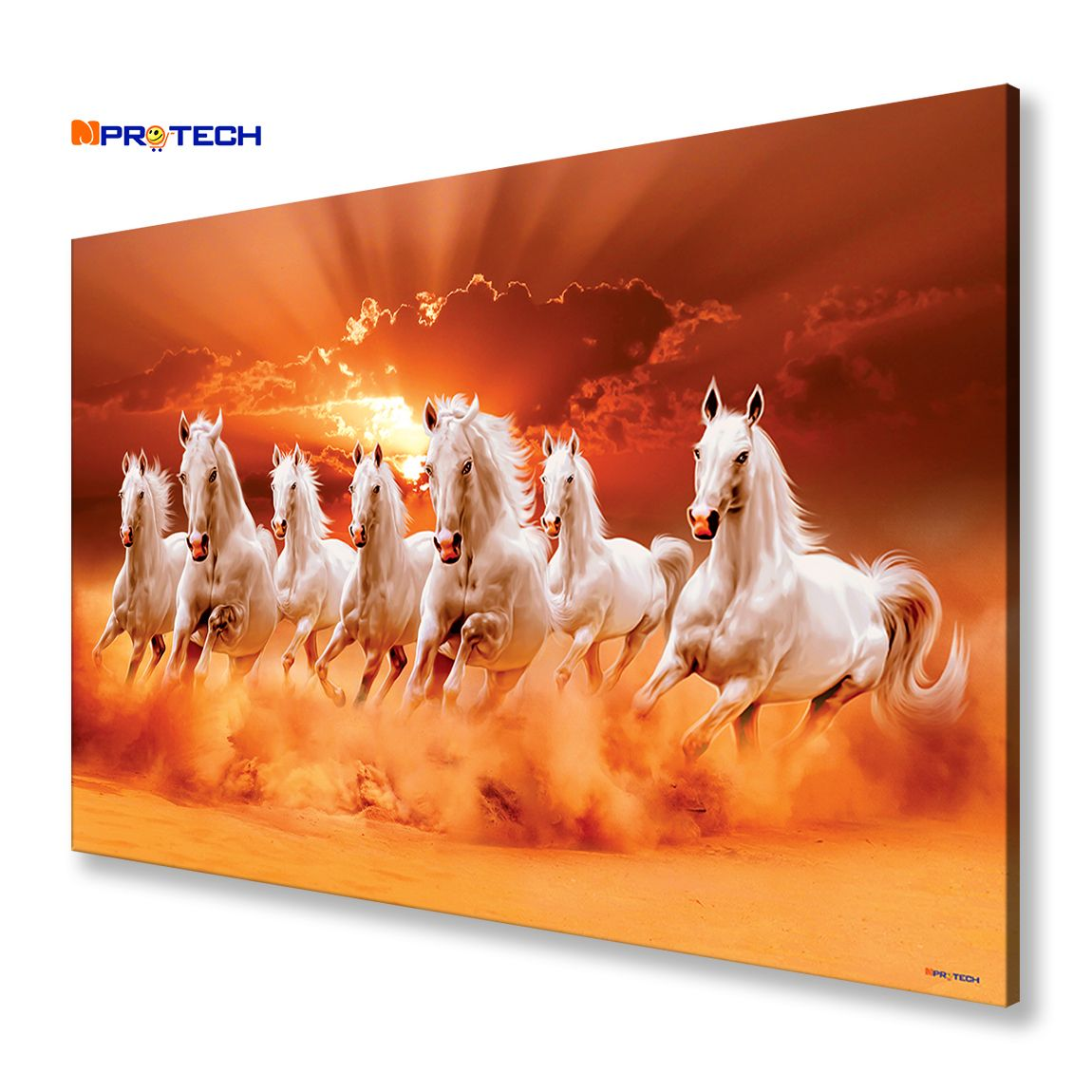 Mpro Tech Eco Canvas Seven Running Horses Painting For Home And Office Vastu 90 X 60 Cm In 2020 Horse Painting Horse Oil Painting Seven Horses Painting